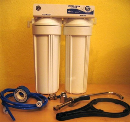 Undercounter Water Filter Cartridge 2-fold with Carbonite